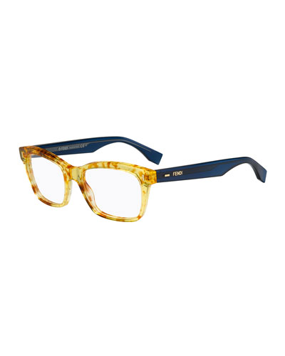 Square Fashion Glasses, Amber/Blue