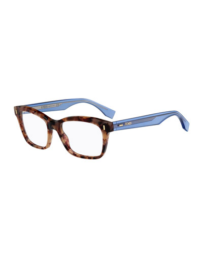 Square Fashion Glasses, Havana/Blue