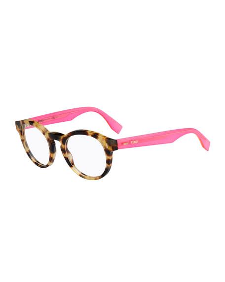 Fendi Round Fashion Glasses, Havana/Pink
