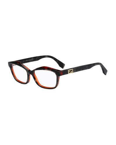 Havana Raised-Brow Fashion Glasses, Gray/Orange
