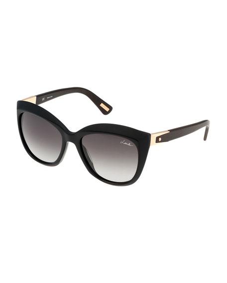 Pointed Square Sunglasses, Black