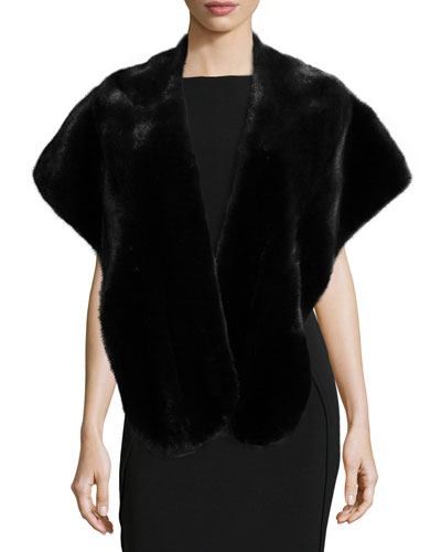 Mink Fur Stole, Black