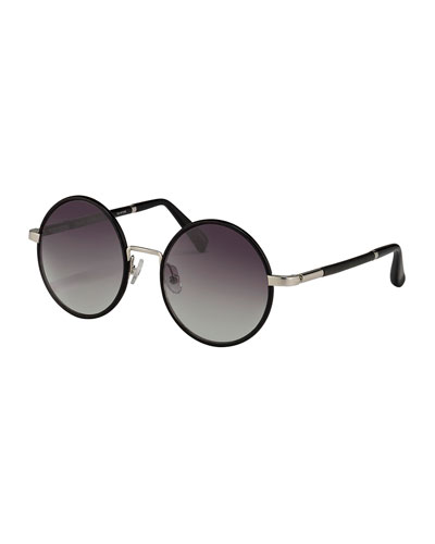 Round Leather-Wrapped Sunglasses, Silvertone/Black