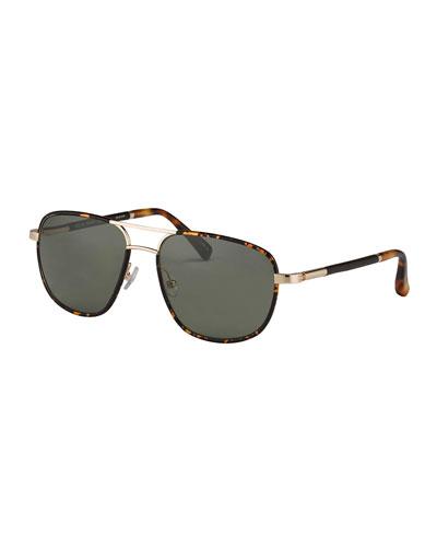 Leather-Wrapped Aviator Sunglasses, Havana