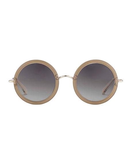 Round Circle Sunglasses, Mink/Cream
