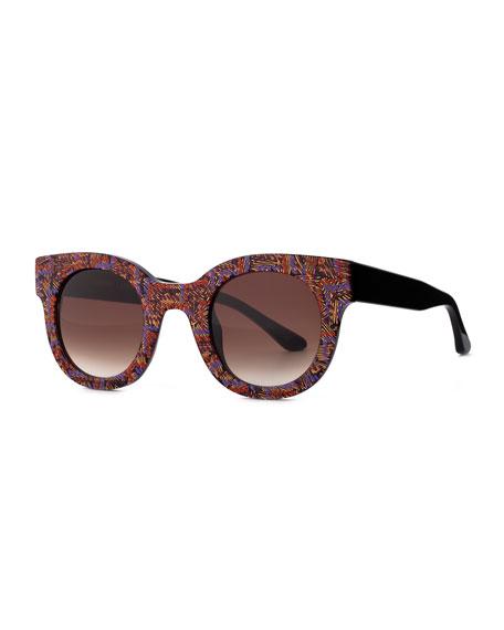 Celebrity Round Printed Sunglasses, Multi
