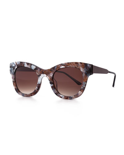 Leggy Marbled Cat-Eye Sunglasses, Gray/White