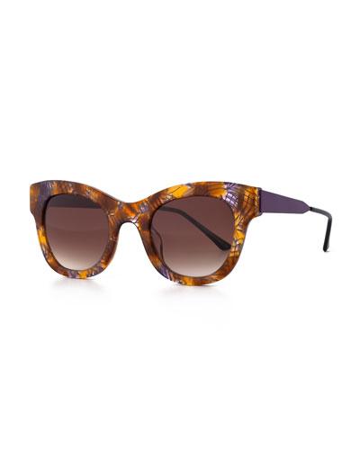 Leggy Cat-Eye Sunglasses, Purple/Yellow