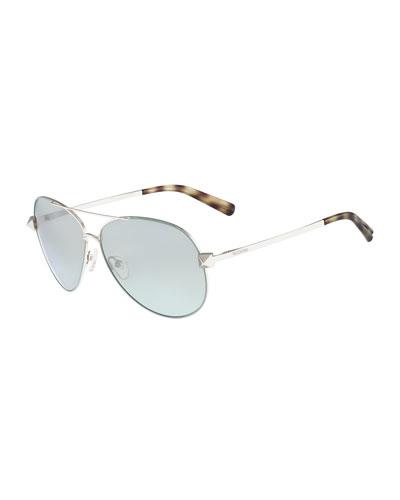 Metal Aviator Sunglasses with Rockstud Temples, Sage