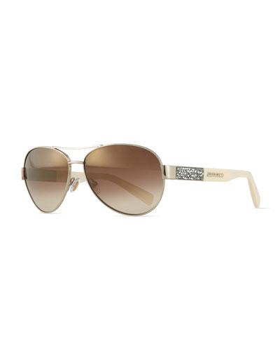 Babas Crystal-Temple Aviator Sunglasses, Light Golden