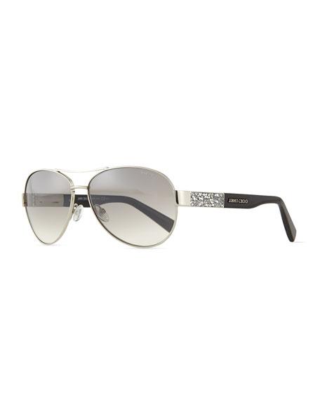 f468cbabcf80b Jimmy Choo Babas Crystal-Temple Aviator Sunglasses