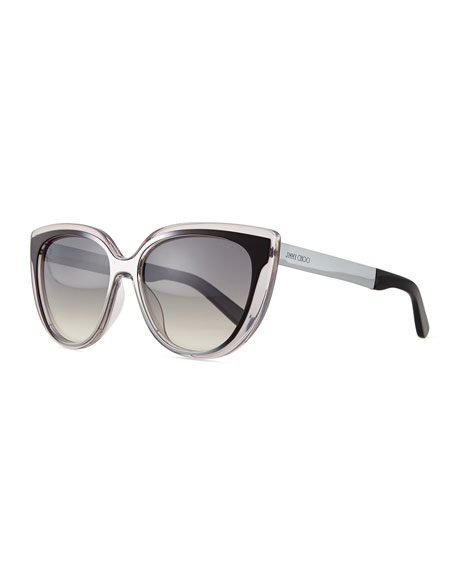 Jimmy Choo Cindy Cat-Eye Sunglasses, Gray/Black
