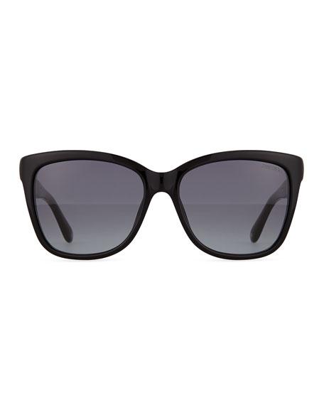 Cora Crystal-Temple Square Sunglasses, Black