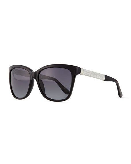 Jimmy Choo Cora Crystal-Temple Square Sunglasses, Black