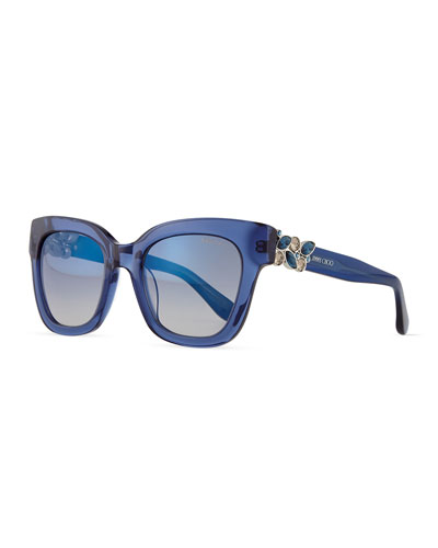 Maggie Jewel-Temple Sunglasses, Blue