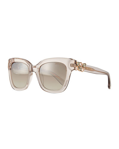 Maggie Jewel-Temple Sunglasses, Clear