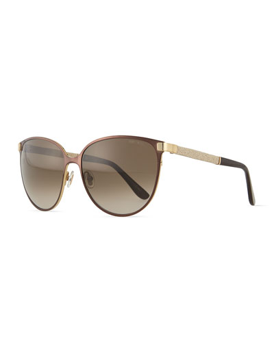 Posies Crystal-Temple Butterfly Sunglasses, Brown