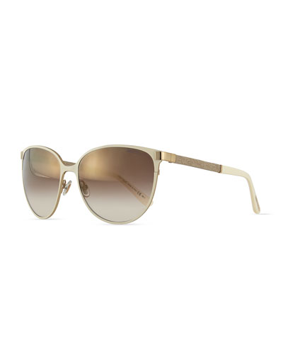 Posies Crystal-Temple Butterfly Sunglasses, Ivory