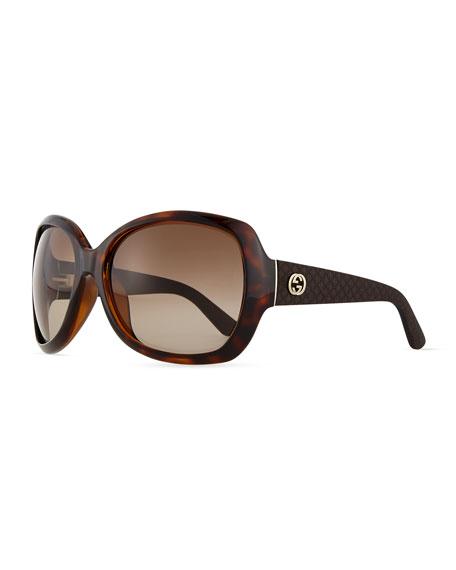 Gucci GG-Temple Butterfly Sunglasses, Havana