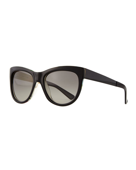 Gucci Floral-Fabric-Embed Butterfly Sunglasses, Black