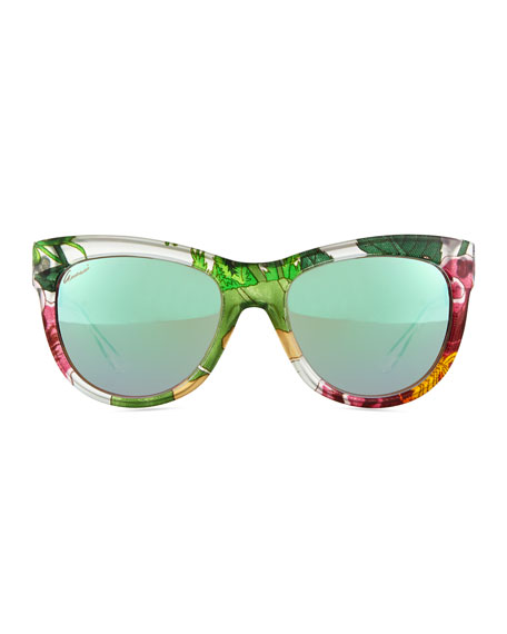 68159e6aa9f5a Floral-Fabric-Embed Butterfly Sunglasses Crystal