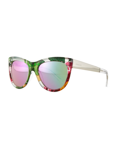 2647bc7da Gucci Floral-Fabric-Embed Butterfly Sunglasses, Crystal