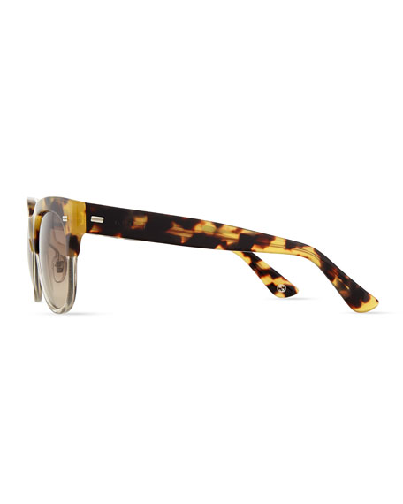 Square Half-Rim Sunglasses, Havana/Clear