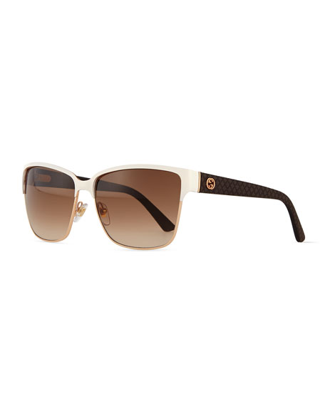 Gucci Dual-Rimmed GG-Temple Square Sunglasses, Ivory/Golden