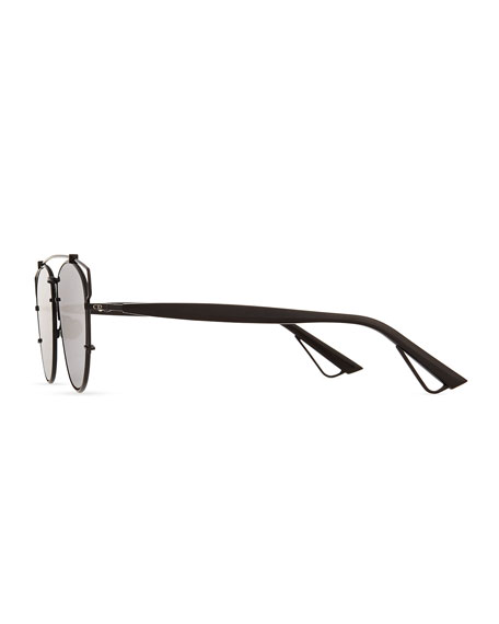 Technologic Cutout Aviator Sunglasses, Black