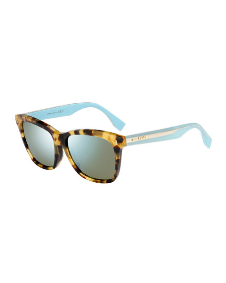 Universal-Fit Rectangular Sunglasses, Beige/Blue