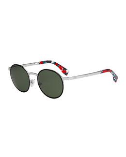 Round Floral-Ear Metal Sunglasses, Black Multi