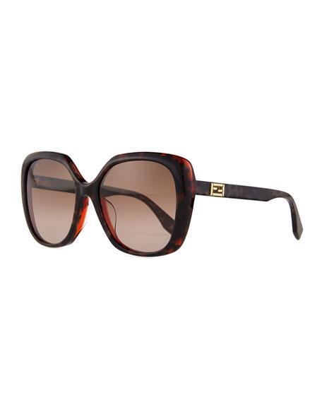 Fendi Universal-Fit Square Sunglasses, Brown/Gray