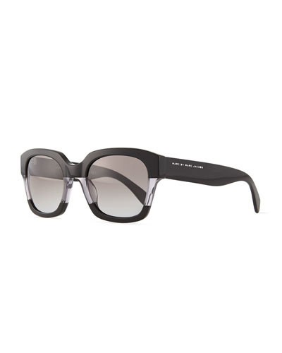 Square Clear-Inset Sunglasses, Black/Gray