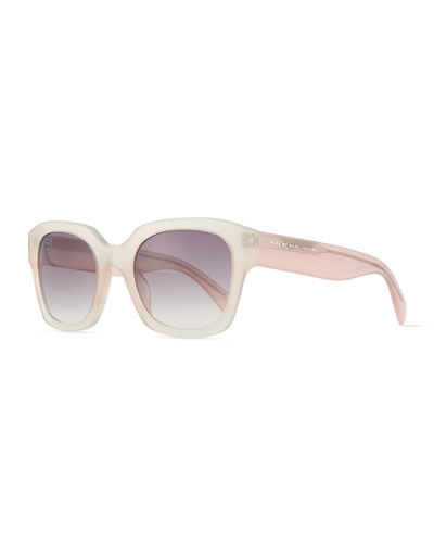 Square Translucent Sunglasses, White/Pink