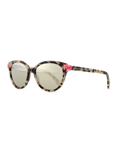 Mirrored Plastic Cat-Eye Sunglasses, Havana/Pink