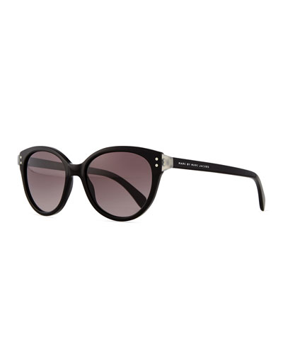 Plastic Cat-Eye Sunglasses, Black