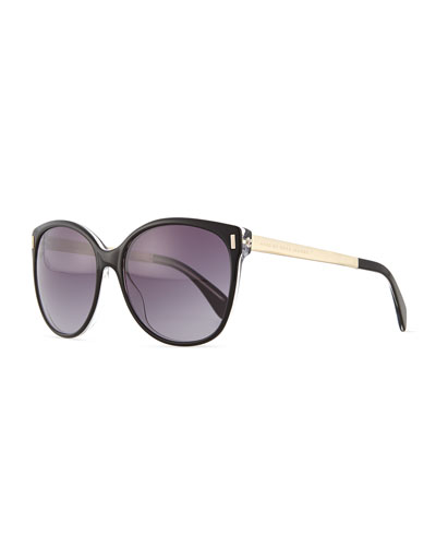 Clear-Edge Butterfly Sunglasses, Black