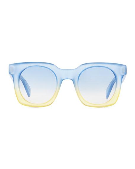 Bicolor Translucent Square Sunglasses, Blue/Yellow