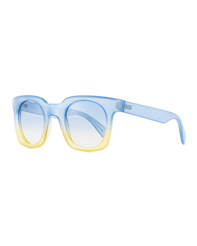 Bicolor Translucent Square Sunglasses, Blue/Yellow