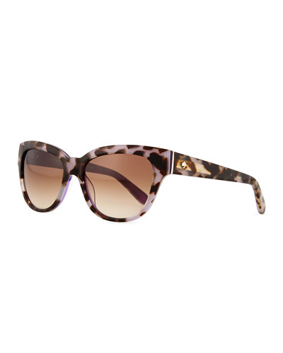 two-tone cat eye sunglasses, brown/purple