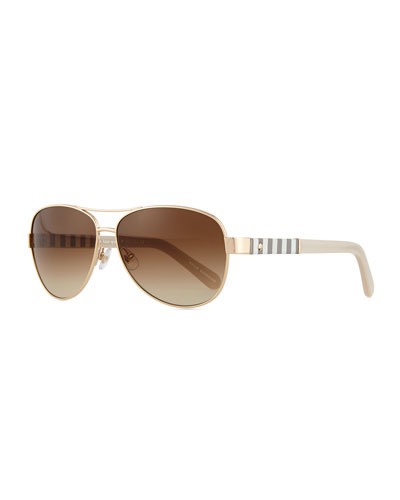 aviator stripe-arm sunglasses, golden