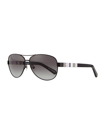 aviator stripe-arm sunglasses, black