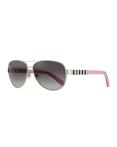 dalia aviator striped-arm sunglasses, silver