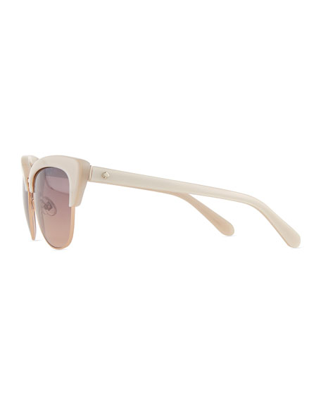 dual-rimmed cat-eye sunglasses, beige