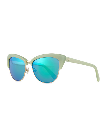 dual-rimmed cat-eye sunglasses, mint green