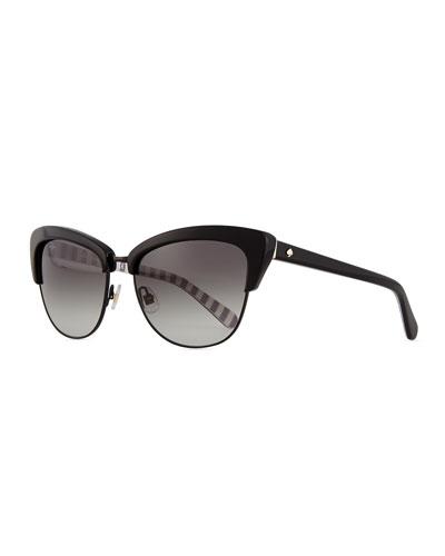 dual-rimmed cat-eye sunglasses, black
