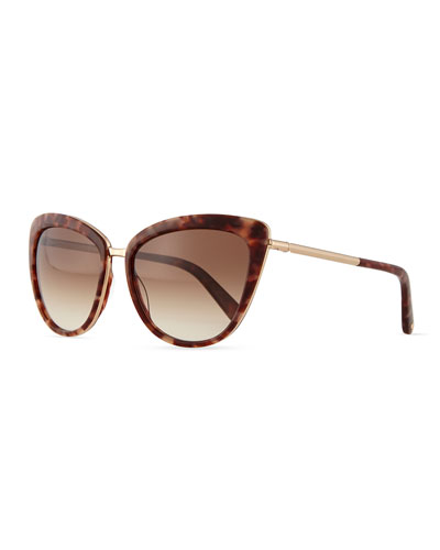 cat-eye sunglasses w/bar arms, brown havana