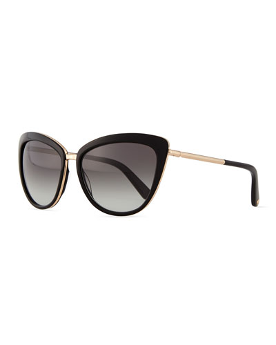 cat-eye sunglasses with bar arms, black