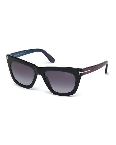TOM FORD Celina T-Temple Sunglasses, Black/Blue