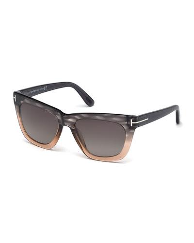 Celina Colorblock T-Temple Sunglasses, Gray/Pink